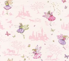 Fairyland (J149W-04) - Jane Churchill Wallpapers - A delightful fairy design, with pretty fairy characters, butterfly, star, tree, rabbit, unicorn and castle motifs create a fairy landscape, perfect for your little dreamer. Shown in soft colours, with pale pink motifs on a cream background. Wide width. Please request sample for true colour match