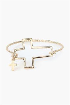 Open Cross Bracelet in Gold