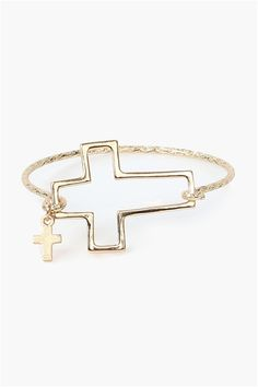 Open Cross Bracelet in Gold