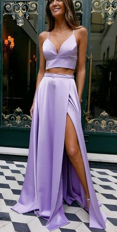 Simple Satin 2 Pieces Long Prom Dresses with Side Slit Fahion Long Lilac School Dance Dresses Custom Made Spaghetti Straps Graduation Party Dress - Wedding World Lavender Prom Dresses, Cheap Prom Dresses, Sexy Dresses, Evening Dresses, Violet Prom Dresses, Long Dresses, Dress Long, Long Lavender Dress, Wedding Dresses