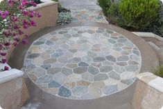 circle patio when wet DIY mosaic stones on concrete patio Castle Stones, Building A Pergola, Outdoor Living, Outdoor Decor, Outdoor Spaces, Outdoor Ideas, Outdoor Kitchens, Patio Makeover, Covered Pergola