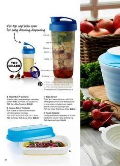 QUICK SHAKE CONTAINER, SEASON-SERVE, (pictured on separate pin SALAD SPINNER & DOUBLE COLANDER).......Visit my website to see more Tupperware offers via: www.my.tupperware.com/KarinMcClelland  You may place an order to be shipped directly to you from my website or if you are in Northwest Arkansas you may contact me via email at: KarinsTupperware@aol.com to place an order