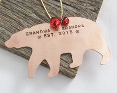 Personalized Christmas Ornament New Grandparents Christmas Ornament for Grandpa Bear Ornament for Grandma and Grandpa Established 2015 Gift by CandTCustomLures on Etsy