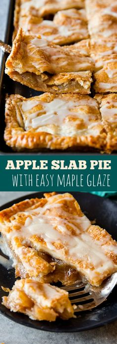 You'll never want to make a traditional pie again! This apple slab pie is a… You'll never want to make a traditional pie again! This apple slab pie is a crowd-pleaser. Complete with maple icing– full step-by-step recipe on sallysbakingaddic… Apple Desserts, Köstliche Desserts, Apple Recipes, Fall Recipes, Dessert Recipes, Apple Pie Recipe Easy, Apple Slab Pie, Peach Slab Pie, Apple Pie Bars
