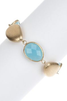 Rivka Friedman 18K Gold Clad Faceted Blue Quartzite & Satin Pebble Bracelet. Retails for $129.