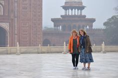 From the Augustana IPO Photo Contest, Faculty Abroad category. Submission by: Abbie Blank-Libra Study Abroad Term: January, 2015 Description: Dr. Sandra Looney and Dr. Janet Blank-Libra caught wandering the perimeter of the Taj Mahal.