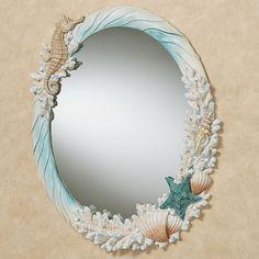 Beach Mirror, Diy Mirror, Wall Mirrors, Sea Shell Mirrors, Backlit Mirror, Mosaic Mirrors, Mirror Glass, Mosaic Art, Coastal Mirrors