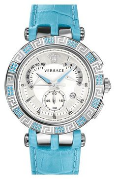 Women's Versace 'V-Race Precious' Chronograph Leather Strap Watch - watches, unique, daniel wellington, rosefield, the fifth, designer watch *ad