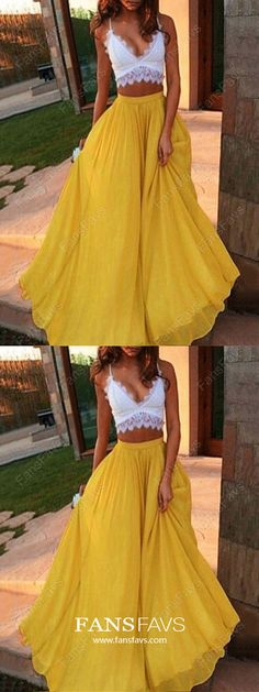 Two Pieces Yellow White Long A Line Sexy Prom Dresses Yellow Prom Dress, Sexy Prom Dress, Two Pieces Prom Dress, Prom Dress, White Prom Dress Prom Dresses 2019 Two Piece Evening Dresses, Prom Dresses Two Piece, Prom Dresses For Teens, V Neck Prom Dresses, A Line Prom Dresses, Cheap Prom Dresses, Formal Evening Dresses, Sexy Dresses, Dress Prom