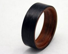 Carbon fiber wedding band with Cocobolo wood by 2ndstreetringcraft