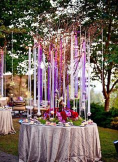 Outdoor Wedding decor, this would be fairly simple to do and would look so beautiful as a backdrop for the ceremony!