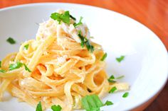Fettuccine Alfredo with Thai Red Curry and Lump Crab Meat - Okie Dokie Artichokie (Dinner Lunch Wheat Dairy Seafood Vegetables Fruit Meat Gluten Egg products Animal products Crab Course Salt Lump crab meat Garlic Fresh parsley Red curry paste Cayenne pepper White pepper Heavy cream Unsalted butter Fettuccine pasta Lemons Parmesan cheese)