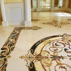 Aalto specializes in creating one-of-a-kind marble inlay surfaces for grand spaces. Contact us for more information or get a quote today. Foyer Flooring, Flooring Cost, Italian Marble Flooring, Foyer Design, Tile Design, Floor Murals, Floor Patterns, Floor Decor, Foyer Ideas