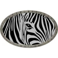 Silver & Black Zebra Print Engraved Rhinestone Belt Buckle