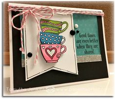 """Card using Close To My Heart's March 2017 Stamp of the Month, """"Tea-rrific"""". Tea cups were stamped, cut and adhered in three levels. Uses CTMH Adventure Fundamental paper and twine. Created by Tamytha Jenkins of www.paperheartist.com"""