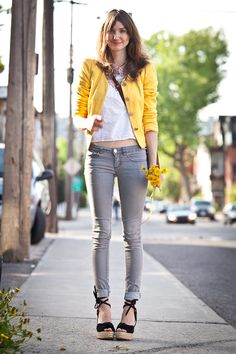 gray jeans + yellow blazer or sweater. I needed to find a cute girly outfit to go with my gray jeans. This outfit is perfect! Love gray and yellow!