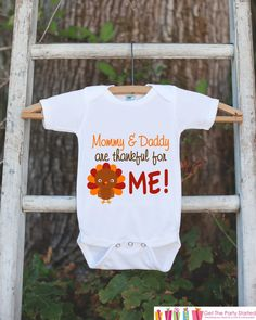 9e4e12a69 Mommy and Daddy are Thankful for Me Thanksgiving Onepiece - Baby's 1st  Thanksgiving Outfit for Baby Girl or Baby Boy with Turkey