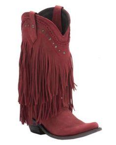Liberty Black Women's Red Vegas T-Moro Fringe Snip Toe Western Fashion Boots