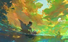 Artist: junc / wenjun lin More: Art Anime, Anime Kunst, Inspiration Art, Art Inspo, Art And Illustration, Fantasy Kunst, Fantasy Art, Art Environnemental, Nature Artists