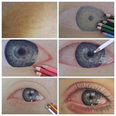 hyper-realism stages with colored pencils.