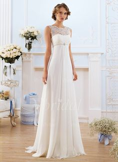 Empire Scoop Neck Sweep Train Chiffon Wedding Dress With Lace Beading (0025093152) - vbridal