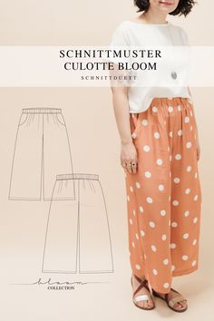 Unser Schnittmuster Culotte Bloom ist eine lässig geschnittene High-Waist-Hose mit weiten Beinen und elastischem Bund – modern aber zeitlos. Bequem wie eine gemütliche Hose, elegant und schwungvoll wie ein Rock. Style deine Culotte Bloom lässig und sportlich mit einem engen Shirt oder cropped Top – oder etwas schicker mit einer weißen Bluse und hochgekrempelten Ärmeln. Ob mit Sneakers, Ballerinas oder High Heels, kreiere vielseitige Looks mit deiner neuen selbstgenähten Lieblingshose. Cropped Tops, Diy Kleidung, Freebies, Rock Style, Tweed, Skirts, Outfits, Collection, Fashion