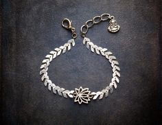 Delicate Silver Chevron Chain Bracelet with Lotus by BevaStyles