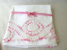 Vintage Embroidered Pillowcases matching dresser scarf by PassedBy, $30.00