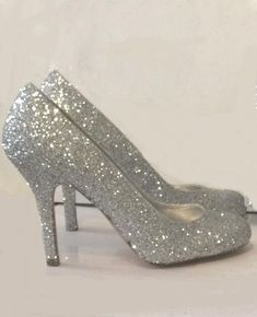 WOMENS SPARKLY HIGH LOW HEELS WEDDING GLITTER SHOES BRIDE COMFORTABLE 21551b687