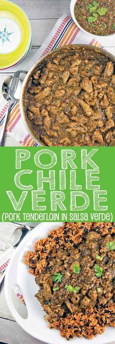 Pork Chile Verde: pork tenderloin simmered in delicious homemade roasted tomatillo salsa verde. {Bunsen Burner Bakery}