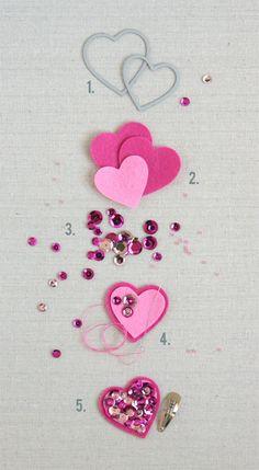 diy felt heart hair clips