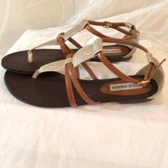 listing  Gold Glitter S.Madden Sandals Sexy Gold Glitter & Tan Steve Madden sandals in Excellent condition, only worn Once! Steve Madden Shoes Sandals