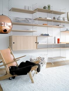 Reading corner with string shelving