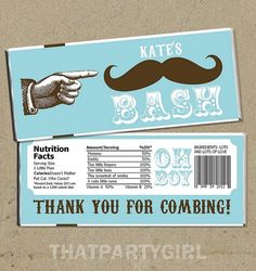 Mustache Bash Baby Shower Party Favors Candy Bar by thatpartygirl, $11.99