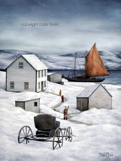 """Newfoundland Art - Dale Ryan Gallery """"Old Time Christmas"""" Canadian Artists, New Artists, Canadian Painters, Pictures To Paint, Art Pictures, Fabric Pictures, Newfoundland And Labrador, Newfoundland Canada, Winter Illustration"""