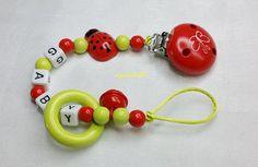 Schnullerkette Käfer Ring Glocke Name Baby md197 von myduttel auf DaWanda.com