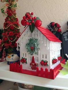 Christmas Village Houses, Christmas Gingerbread House, Christmas Villages, Christmas Home, Vintage Christmas, Christmas Decorations, Christmas Ornaments, Holiday Decor, Christmas Hearts