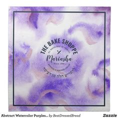Abstract Watercolor Purples Challah Dough Cover & Cloth Napkin