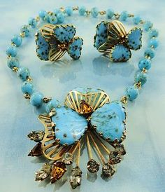 Hobe turquoise glass austrian crystal butterfly demi parure