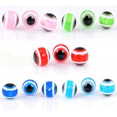 """300PCs Acrylic Spacer Beads AB Color Stripe Pattern Round Mixed 8mm Dia. 3//8/"""""""
