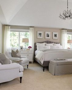 White, gray and beige master bedroom. Neutral bedroom interior design idea. Love the warmth of this room and the windows on each side of the master bed! light but private!