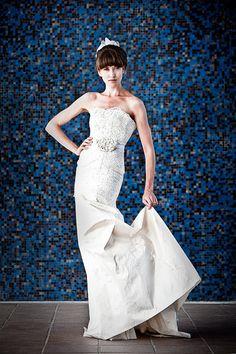 Lace Wedding Dress Rustic Mermaid Eco Friendly Strapless Sweetheart neckline Corset back Modern Slim Eco Friendly. $2,150.00, via Etsy.