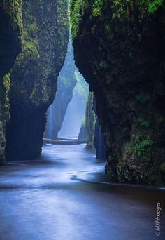 Oneonta Narrows - Columbia River Gorge, Oregon. Located at the Columbia River at River Mile 138, the falls are just half a mile up Oneonta Creek. The best way for visitors to reach Oneonta Narrows is by taking the Historic Columbia River Highway, which al