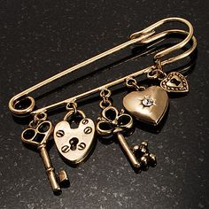 Key, Lock And Heart Locket Charm Safety Pin Brooch