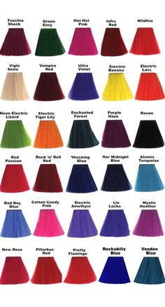 Manic Panic Cruelty Free And Completely Vegan Awesome I M Colorsmanic Hair Dyemanic Color Chartlie