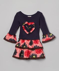 Navy & Coral Floral Tiered A-Line Dress - Toddler & Girls