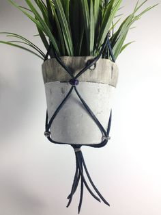Hanging Planter - Black Leather, Purple Glass Beads, Metal beads Plant Hanger by Flowerups on Etsy