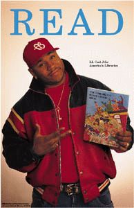 Rapper/Actor LL Cool J, 1997.  Reading Ron Seaborn's The Children's Health Foodbank. ALA Celebrity READ Campaign.