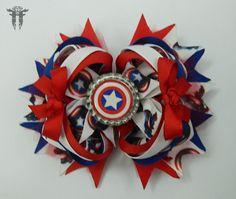 "LG 6"" Captain America Red White Blue Comic Book OTT Boutique Bottle Cap Hair Bow #FemmortalFashions"