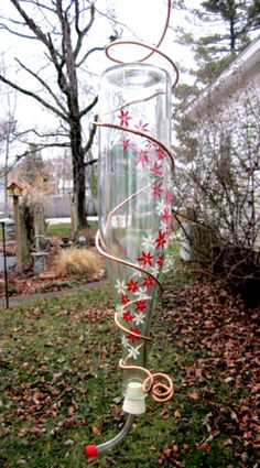recycled wine bottle Hummingbird feeder  etsy.com